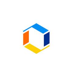 shape 3d letter o technology logo vector image