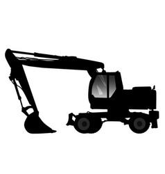 silhouette excavator vector image