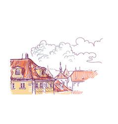 sketch european view prague roofs vector image