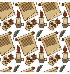 skull in crown and feather paper scroll and candle vector image
