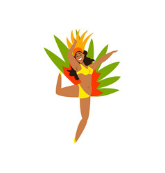 Smiling brazilian girl dancing samba in colorful vector