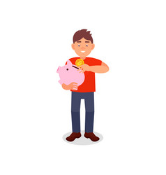 smiling young man holding piggy bank putting coin vector image