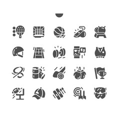 Sport equipment well-crafted solid icons vector