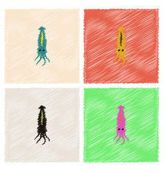 Squid icon simple of squid icon in hatching style vector