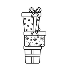 Stacked gift boxes celebration merry christmas vector
