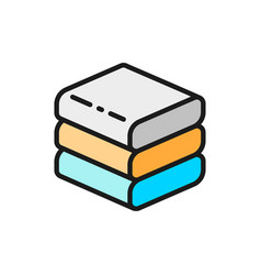 stacked white towels flat color line icon vector image