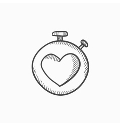 Stopwatch with heart sign sketch icon vector image