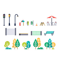 street furniture and trees set vector image