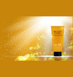 sun care cream bottle tube template for ads or vector image
