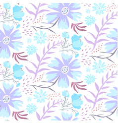 tender blue doodle floral pattern vector image