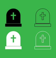 Tomb stone icon black and white color set vector