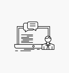 training course online computer chat line icon vector image