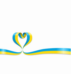 Ukrainian flag heart-shaped ribbon vector