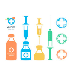 Vaccine vial and syringe infographic elements vector