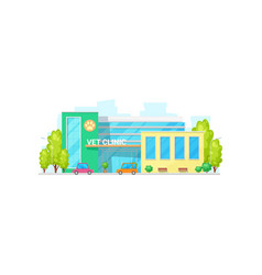 Vet clinic hospital isolate building center facade vector