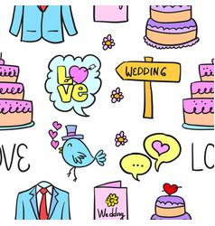 Wedding style doodles vector