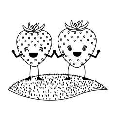 White background of monochrome pair of strawberry vector