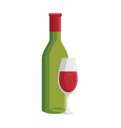 Wine cup bottle vector