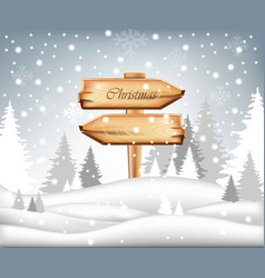 Winter card with christmas wood sign snowy vector