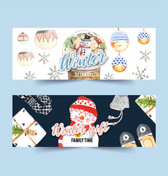 Winters home banner design with slippers hat vector