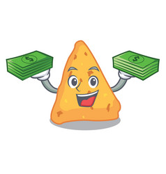 with money bag nachos mascot cartoon style vector image
