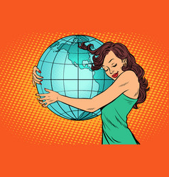 woman hugging earth mainland america vector image