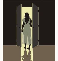 Woman in nightgown vector