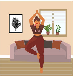 Woman practices yoga at home beautiful plus size vector