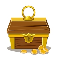 Wood treasure chest and coin vector