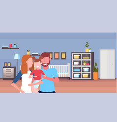young family loving parents holding little son vector image