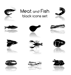 Fish and Meat Black Icons vector image