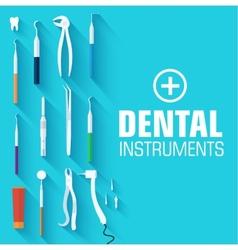 Flat dental instruments set design concept vector