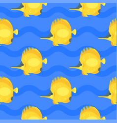 flat style seamless pattern with yellow fish vector image vector image