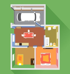 House in section with a car in garage vector image