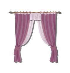 Pink kitchen curtains on the ledge decor vector image vector image
