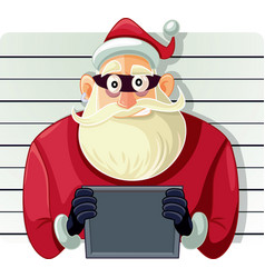 Bad santa police mugshot cartoon vector