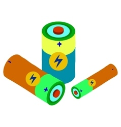 Cartoon battery flat icons set vector image vector image