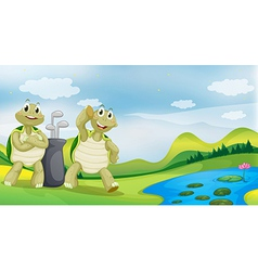 Cartoon Golfing Turtles vector image vector image