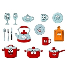 Cartoon smiling kitchenware and glassware vector image vector image
