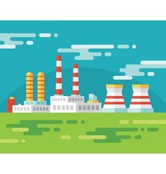 Industrial factory building - flat vector image