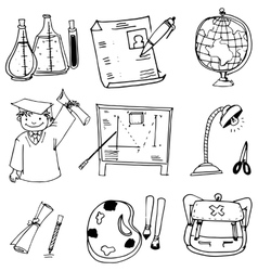 School education with hand draw in doodle vector