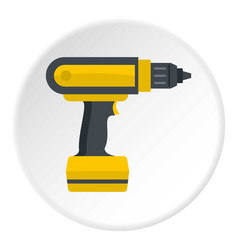 yellow electric screwdriver drill icon circle vector image