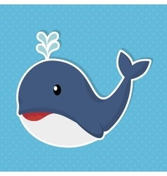 cute whale baby icon vector image vector image