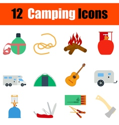 Flat design camping icon set vector image vector image