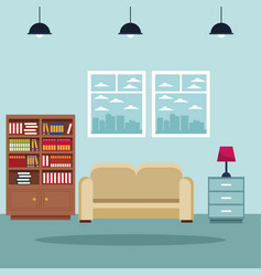 home living room interior vector image