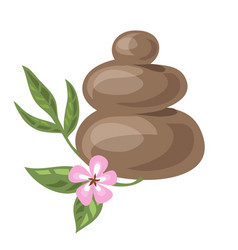 pile of hot stones for spa procedures and sakura vector image