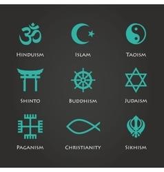 World religion symbols cyan color vector