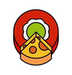 A circle cut off a piece of cheese vector