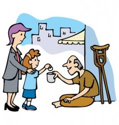 girl and beggar vector image vector image