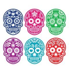 Mexican sugar skull Dia de los Muertos color icon vector image vector image